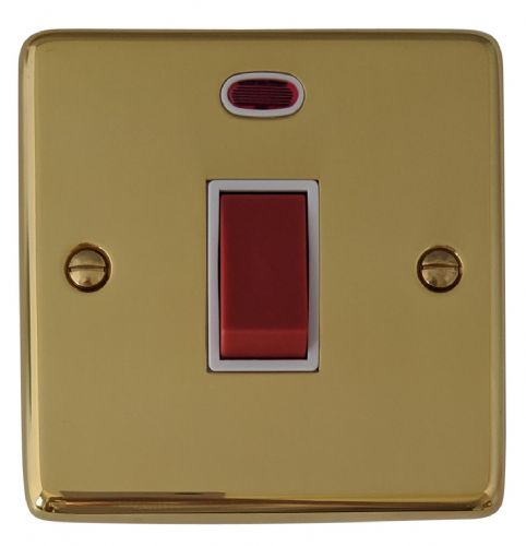 G&H CB46W Standard Plate Polished Brass 45 Amp DP Cooker Switch & Neon Single Plate
